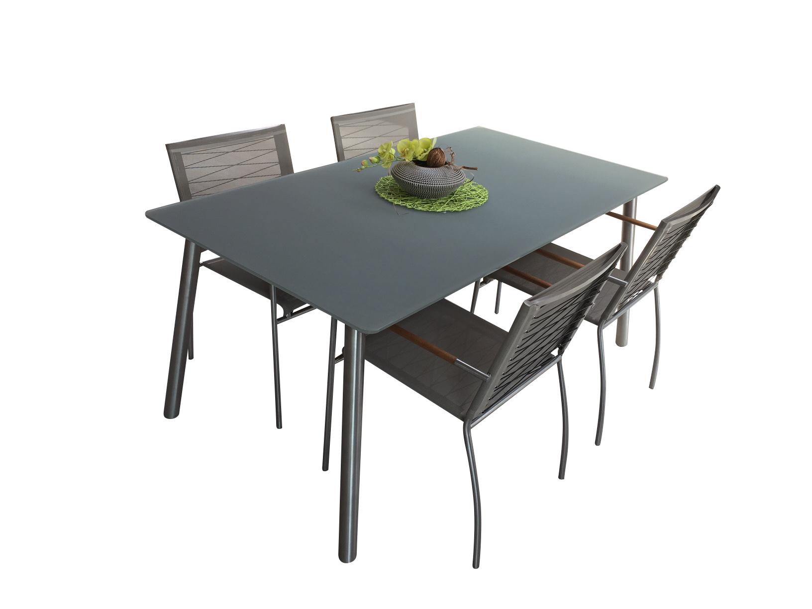 Gartentisch NATUN Mit 4 Stühlen Farbe Taupe Solovivo