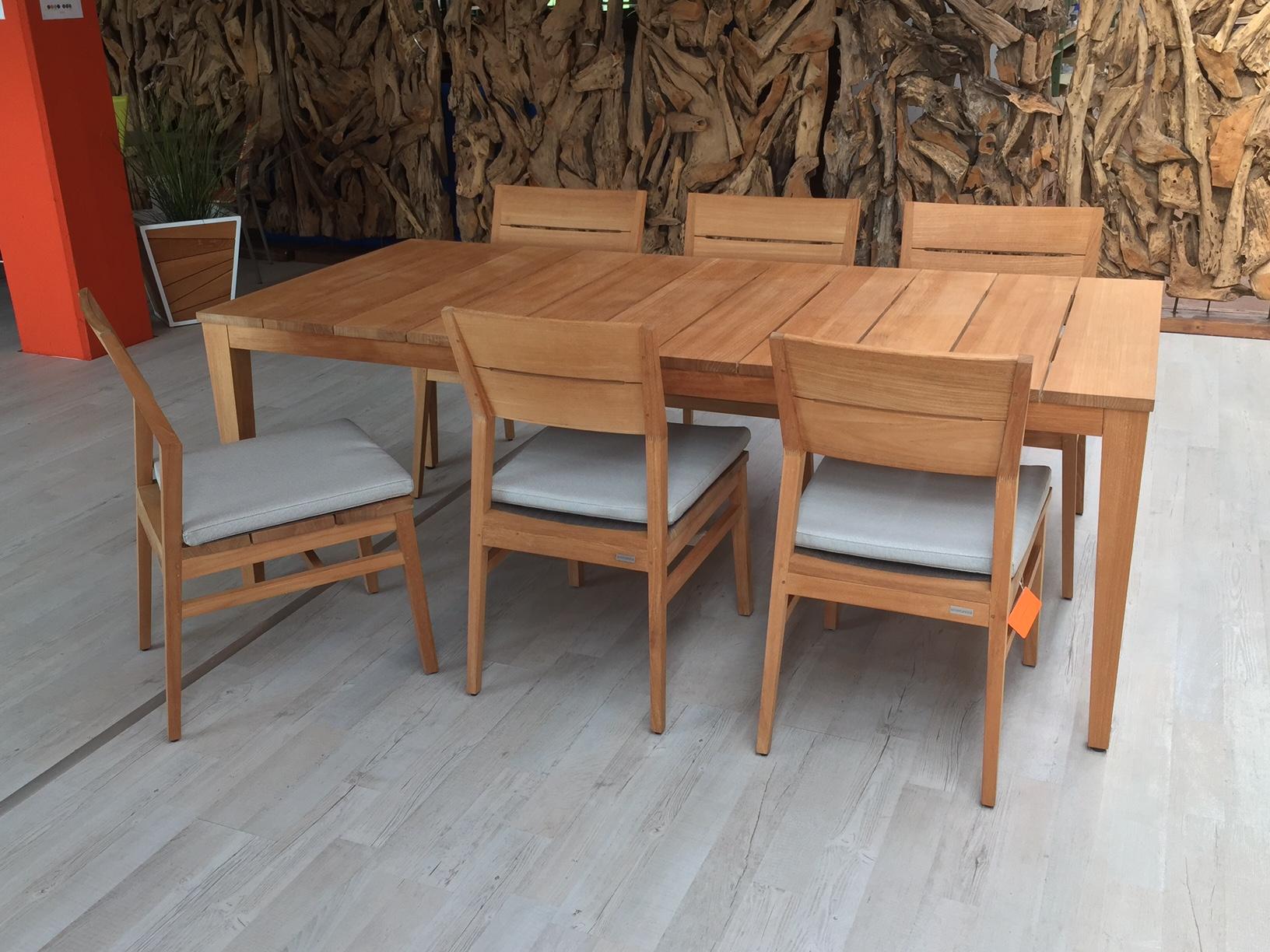 TWIZT Gartentisch Teak mit 6 Stühlen Solovivo