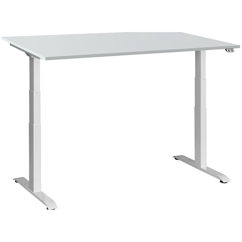 Schreibtisch / Stehpult elektrisch höhenverstellbar, Gestell weiss 04