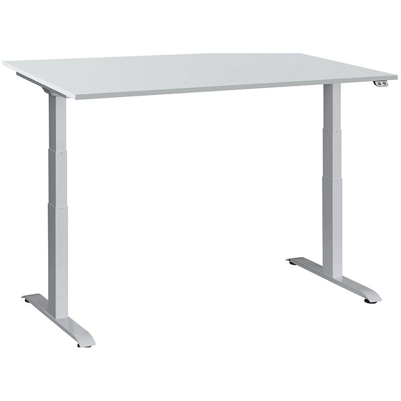 Schreibtisch / Stehpult elektrisch höhenverstellbar, Gestell silber 04