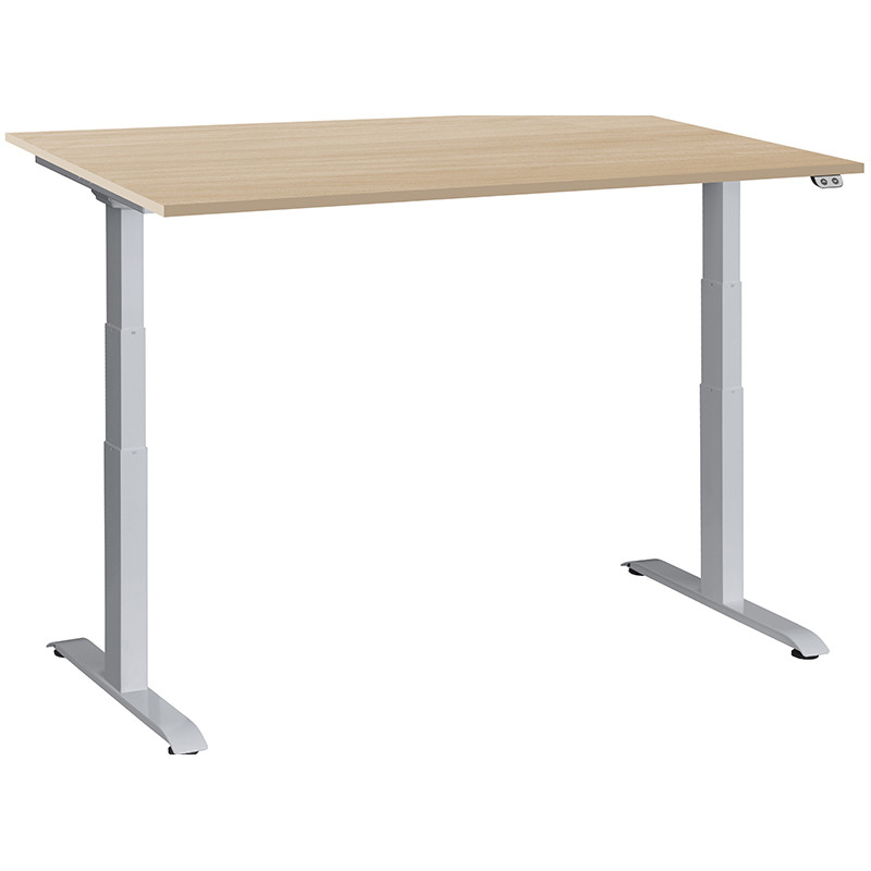 Schreibtisch / Stehpult elektrisch höhenverstellbar, Gestell silber 05