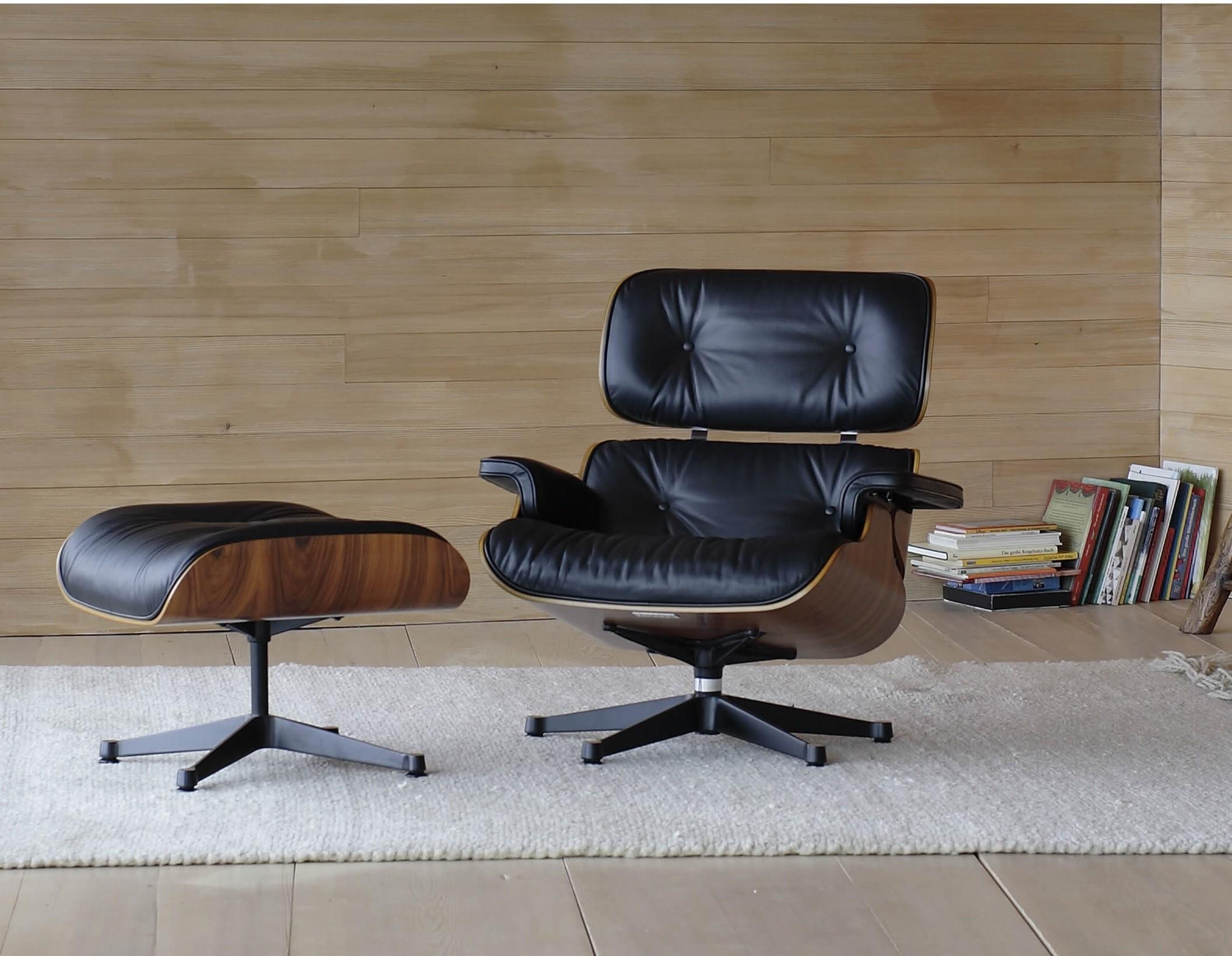 Lounge Chair mit Ottoman Palisander Leder schwarz Vitra 02