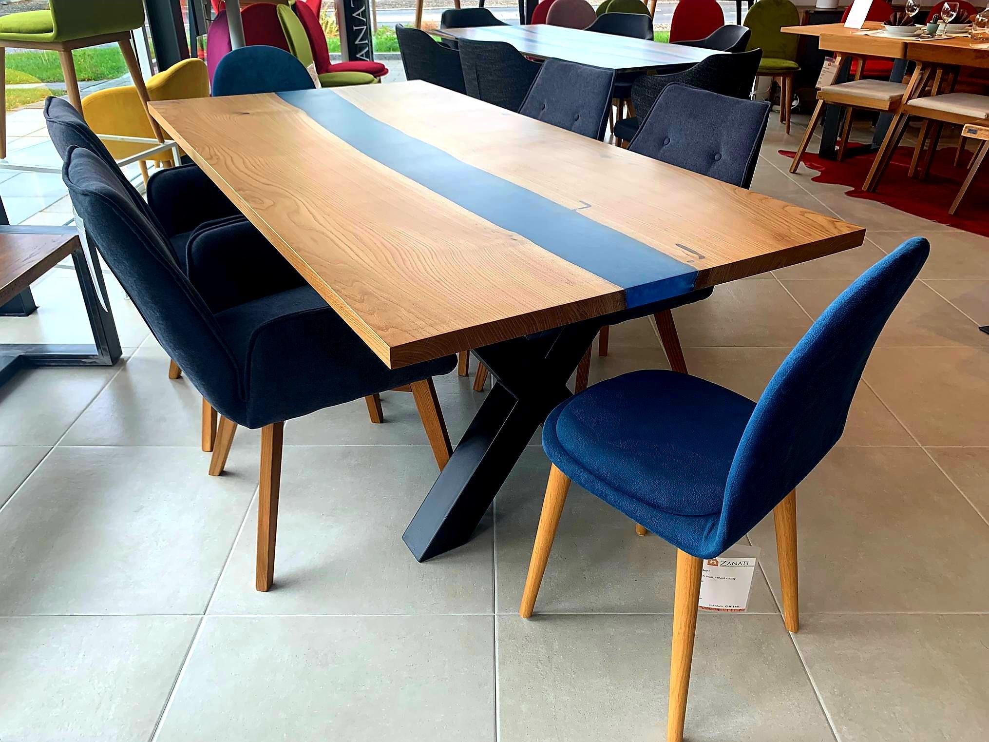 Galaxy River Blue Table mit Epoxid 05