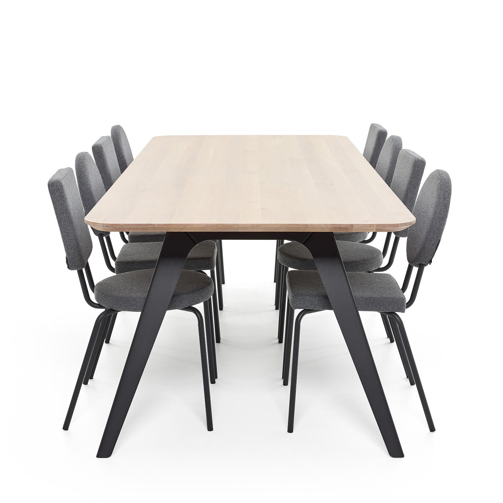 Esstisch Fold Eichenholz 200 x 95 / Gestell Stahl Schwarz  06
