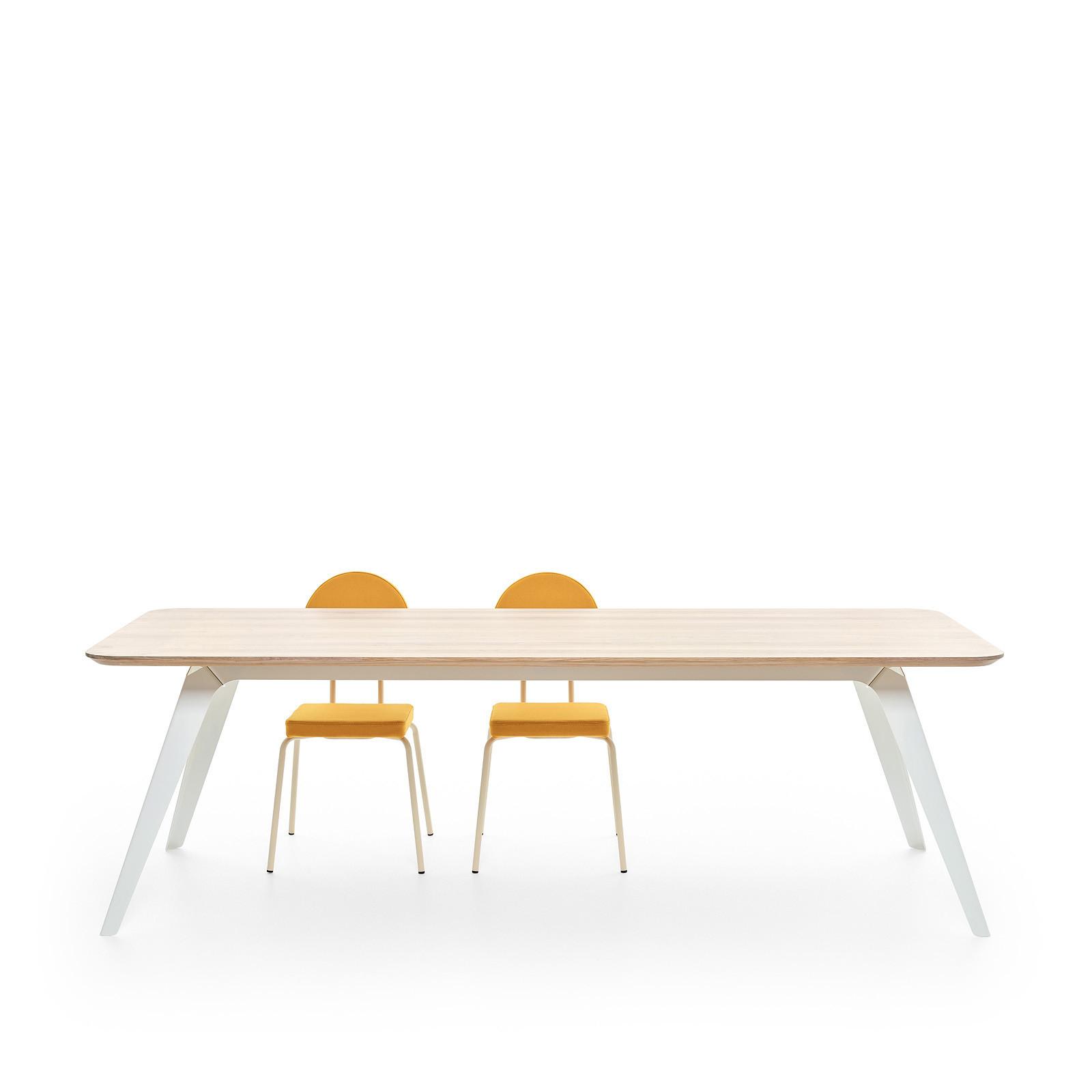 Esstisch Fold Eichenholz 200 x 95 / Gestell Stahl Weiss 02