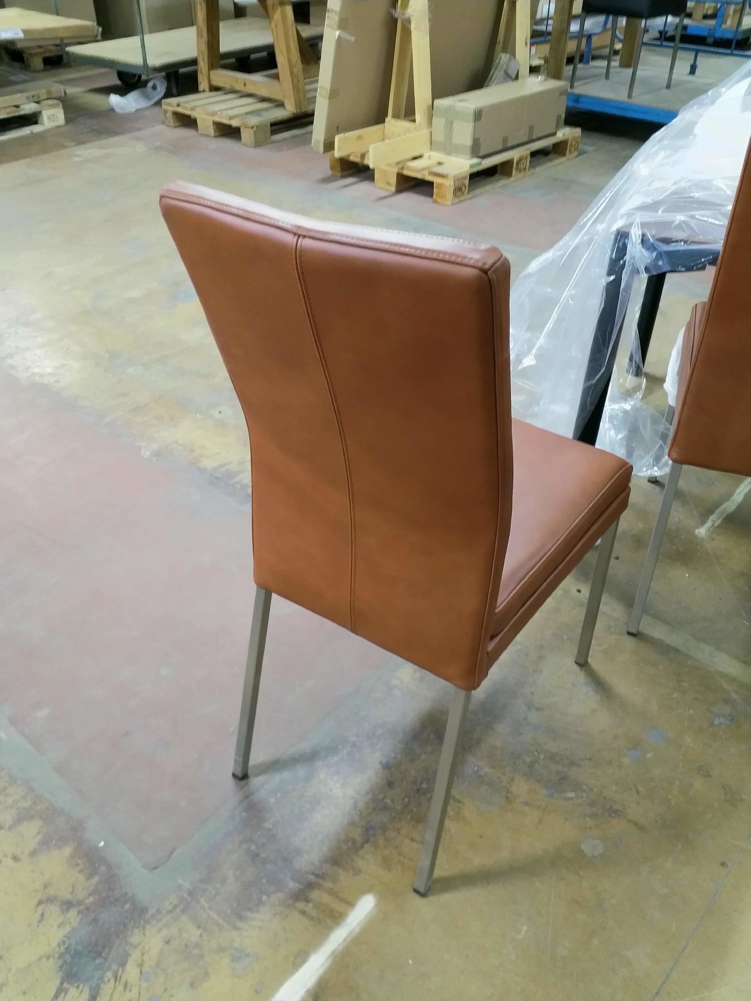 stuhl leder braun 6 stk solovivo. Black Bedroom Furniture Sets. Home Design Ideas