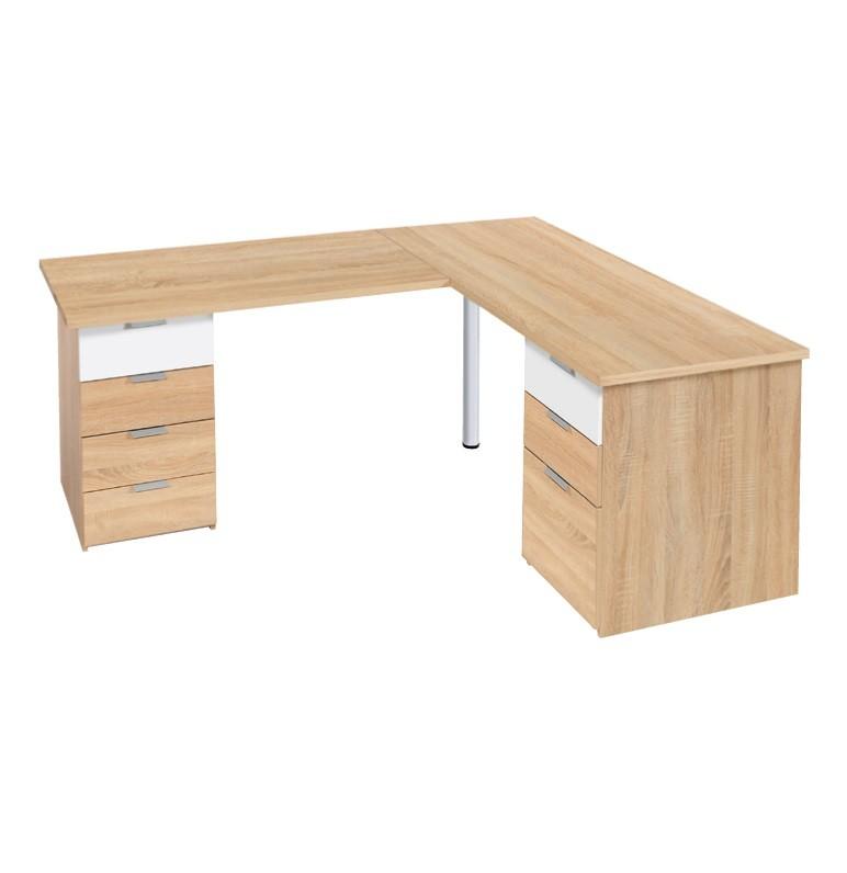 Schreibtisch mit Eckelement Eiche Dekor 03