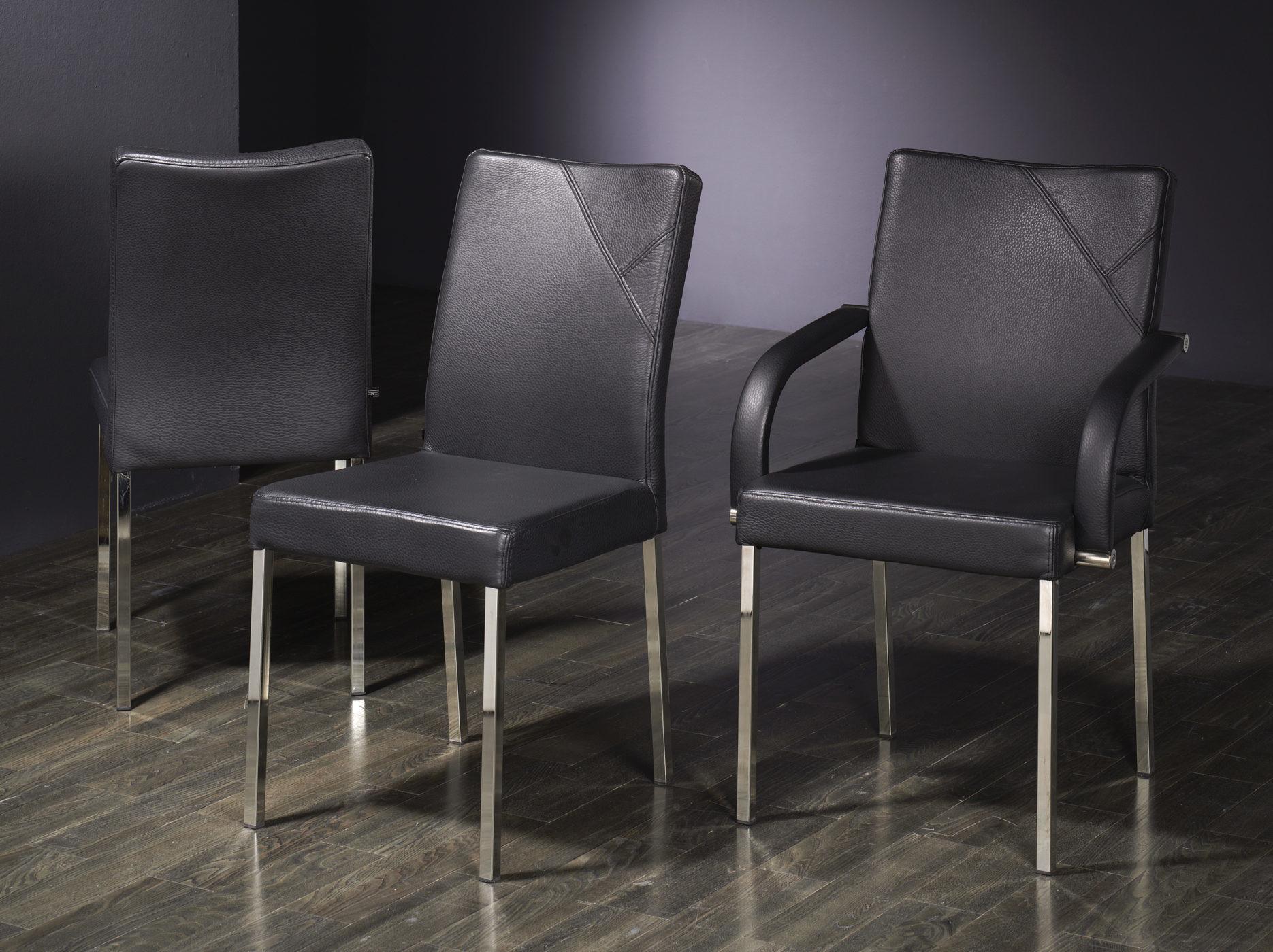 Sehr robuste Stühle, Echtleder schwarz 01