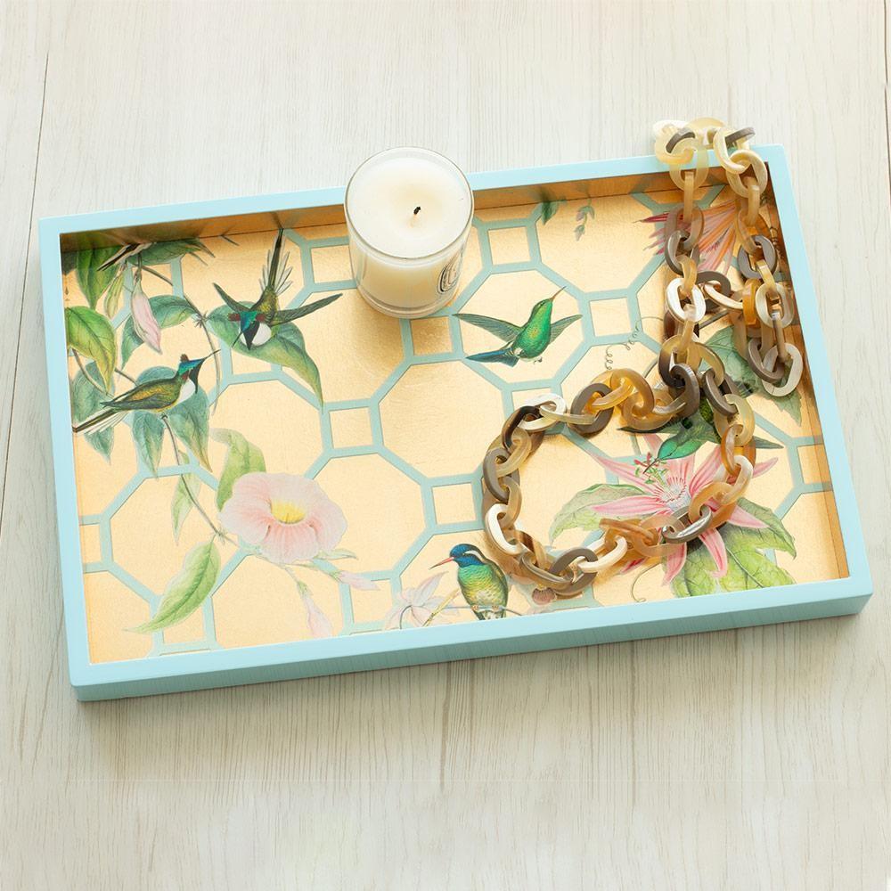 Kolibri-Lacktablett in Gold 03