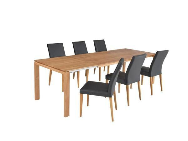 Esstisch COLUMBUS in Eiche mit 6 Stühlen in echt Leder schwarz 01
