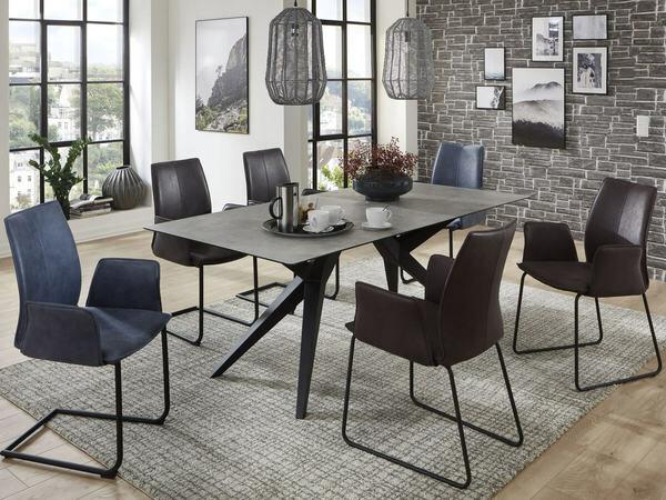 Design Tisch TRINIDAD HPL mit Eisengestell schwarz 01