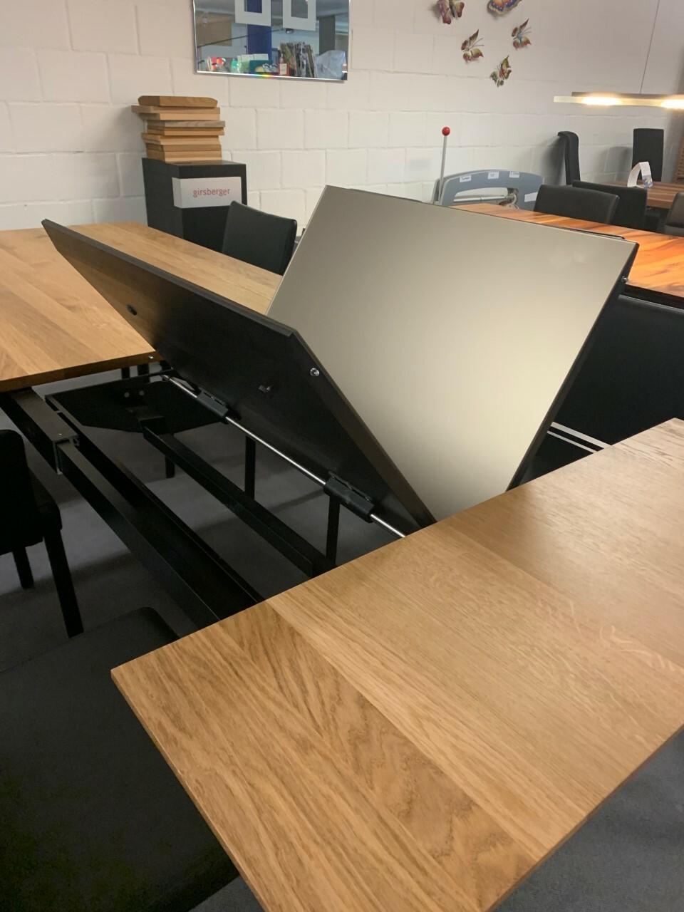 Tisch massiv Modell Anton in Wildeiche 100 x 180 cm mit Auszug 70 cm 04