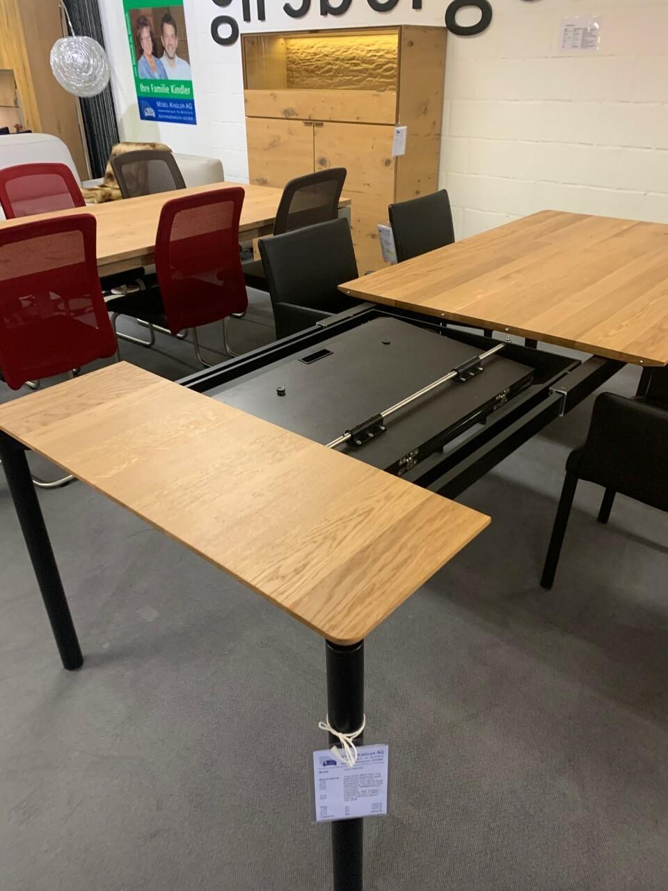 Tisch massiv Modell Anton in Wildeiche 100 x 180 cm mit Auszug 70 cm 06