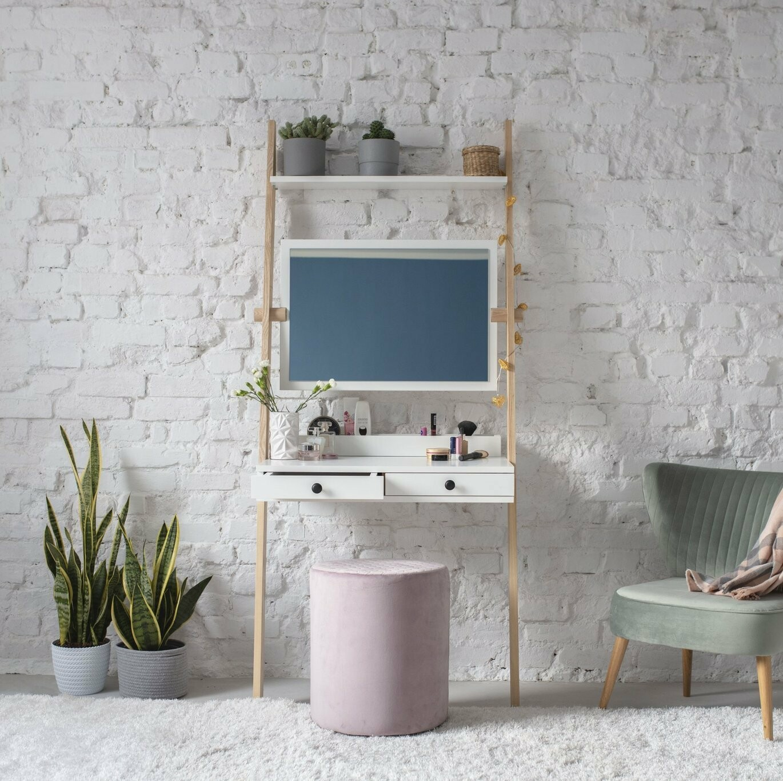 Leno Leiterregal Schreibtisch/Schminktisch mit Spiegel 10