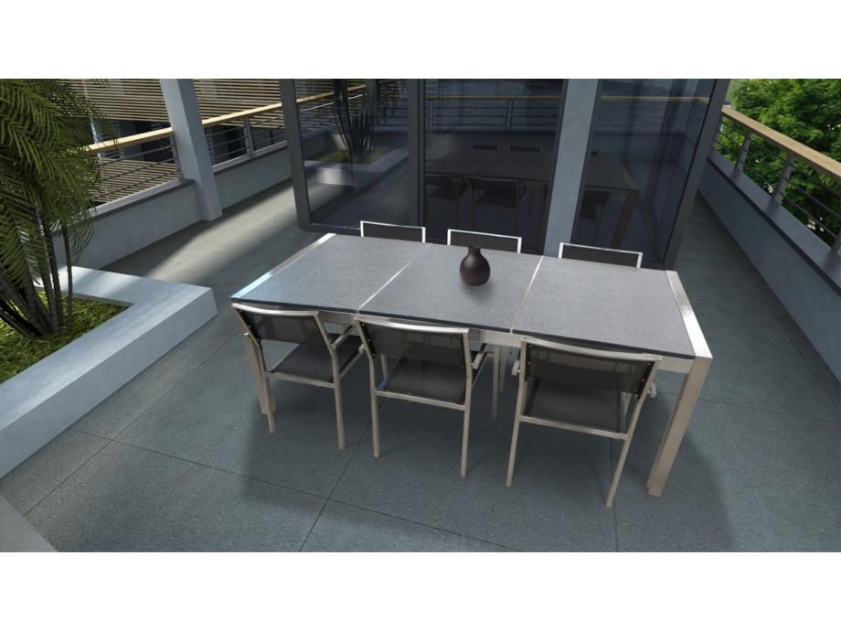 Granit Gartentisch Edelstahl TORU L220cm - Solovivo