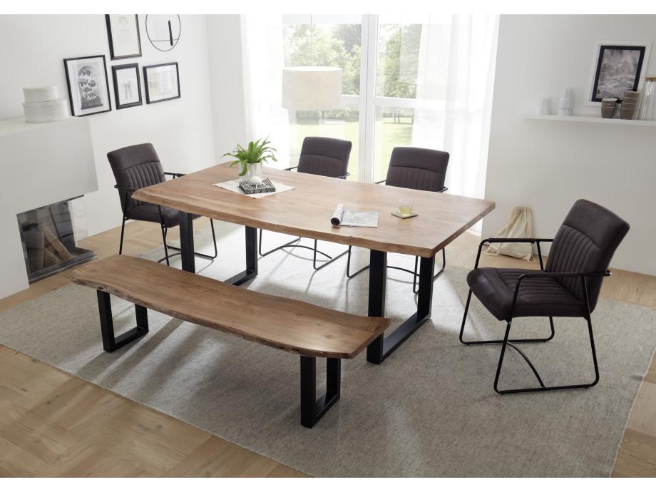 Moderne Tischgruppe mit Tisch, Bank und 4 Stühlen 01