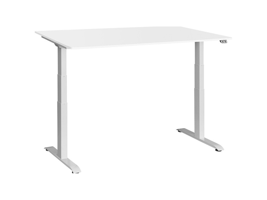 Schreibtisch / Stehpult elektrisch höhenverstellbar, Gestell weiss 08