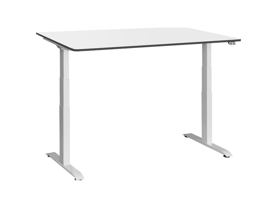 Schreibtisch / Stehpult elektrisch höhenverstellbar, Gestell weiss 06