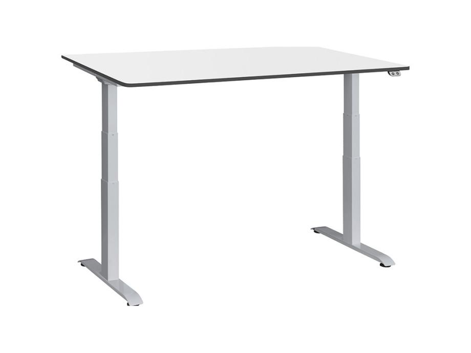 Schreibtisch / Stehpult elektrisch höhenverstellbar, Gestell silber 06