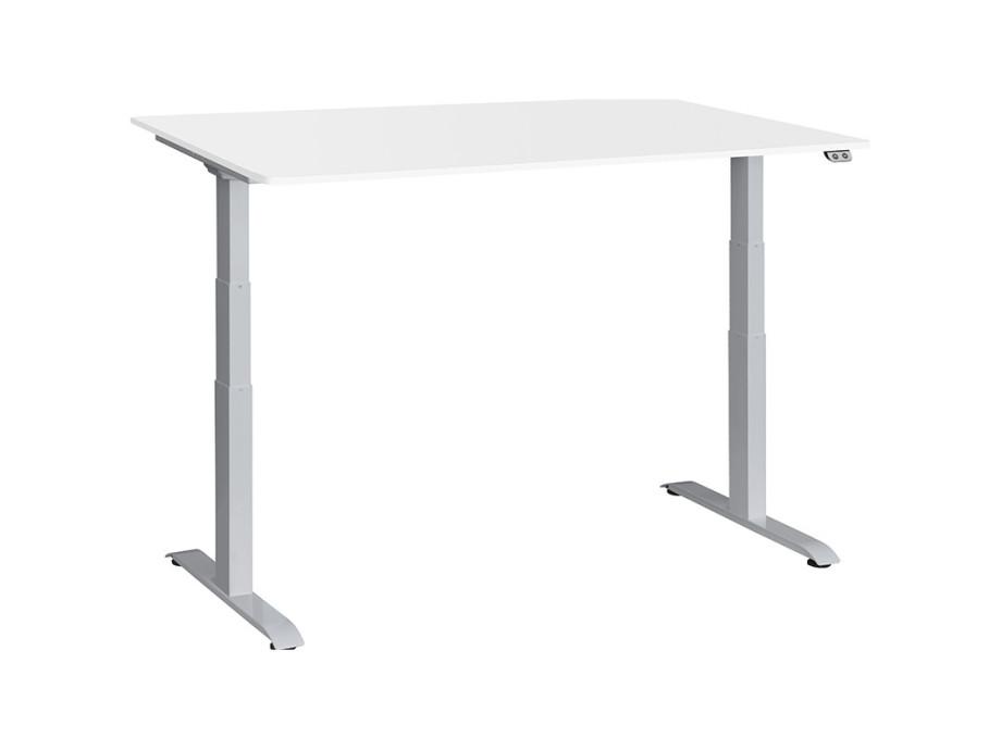 Schreibtisch / Stehpult elektrisch höhenverstellbar, Gestell silber 08