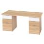 Schreibtisch mit 2 Korpussen Eiche/weiss