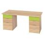 Schreibtisch mit 2 Korpussen Eiche/limone