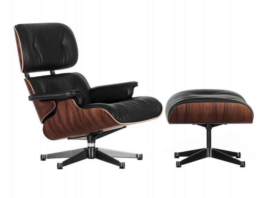 Lounge Chair mit Ottoman Palisander Leder schwarz Vitra 01