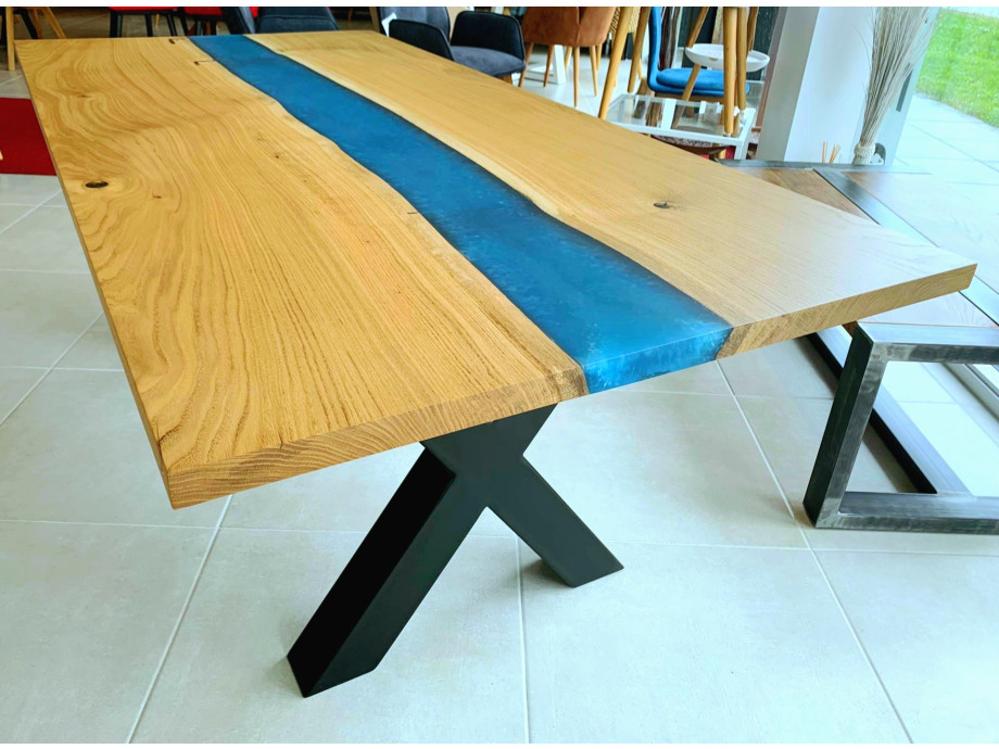 Galaxy River Blue Table mit Epoxid 06