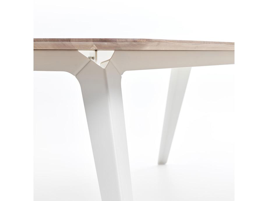 Esstisch Fold Eichenholz 200 x 95 / Gestell Stahl Weiss 06