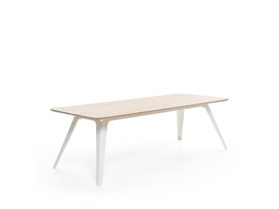 Esstisch Fold Eichenholz 200 x 95 / Gestell Stahl Weiss 03