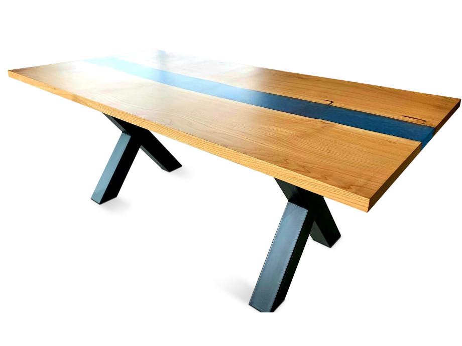 Esstisch Galaxy River Blue Table mit Epoxid 09