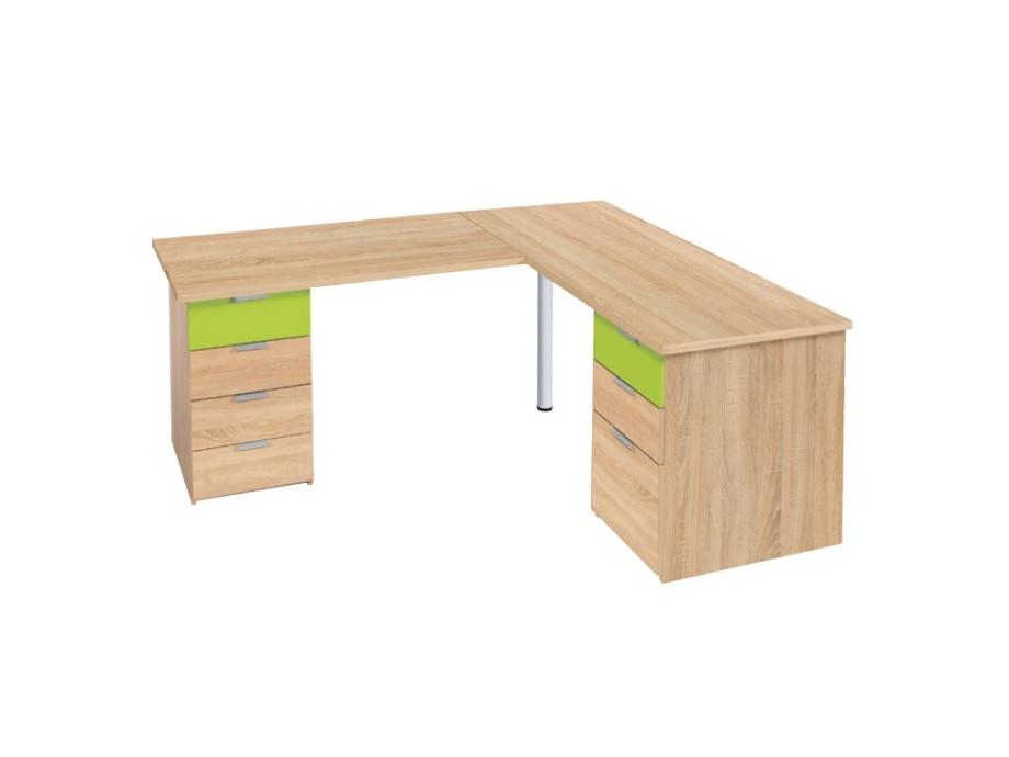 Schreibtisch mit Eckelement Eiche Dekor 01