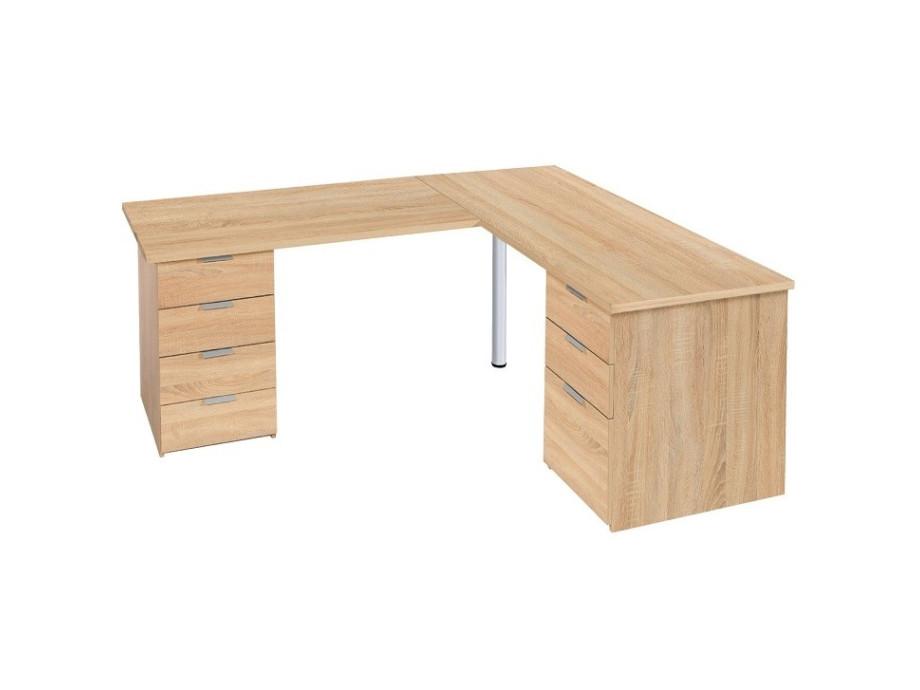 Schreibtisch mit Eckelement Eiche Dekor 02