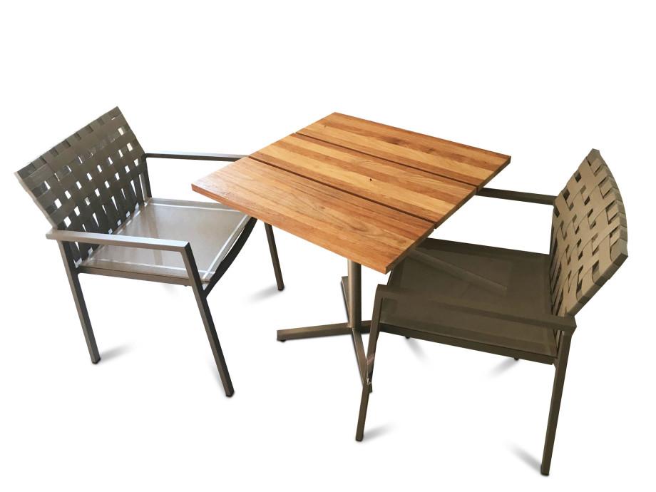 Bistro-Tisch inkl. 2  Sessel Ekka Aluminium, stapelbar 02