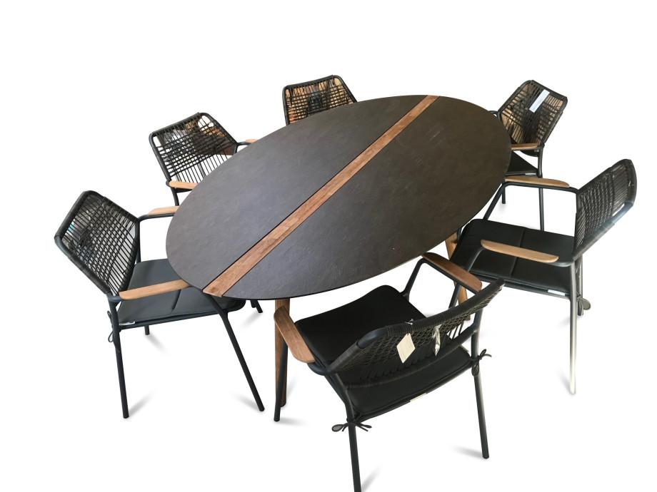 Flix-Tischgruppe HPL /Teak inkl. 6 Sessel, stapelbar, inkl. Kissen 02