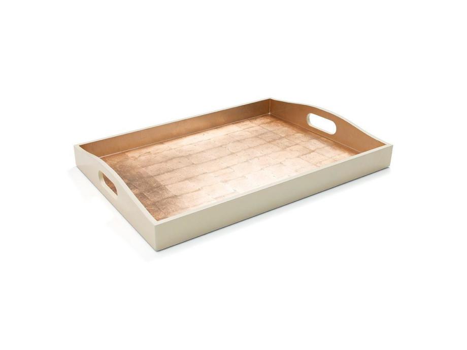 Gold & Elfenbein-Lack Rechteck-Tablett 02
