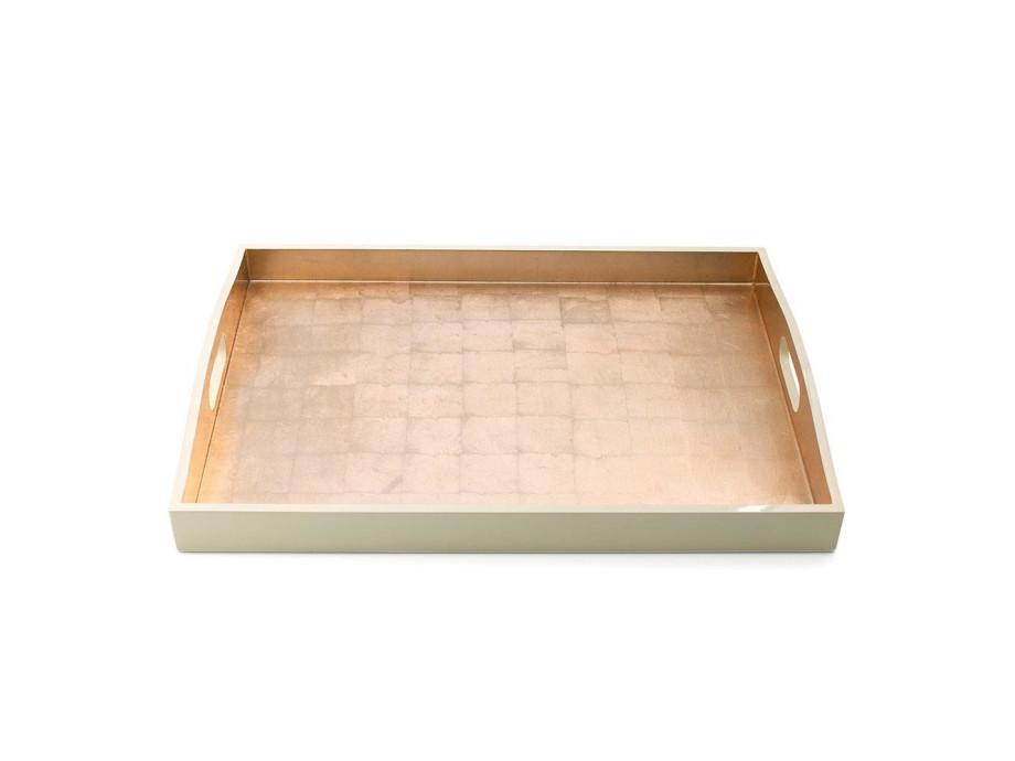 Gold & Elfenbein-Lack Rechteck-Tablett 03