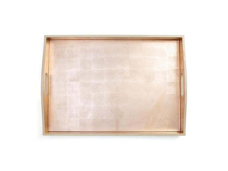 Gold & Elfenbein-Lack Rechteck-Tablett 01