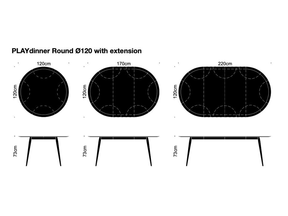 PLAYdinner Round - Eiche - Ø120 - mit Ausziehmöglichkeit - Bruunmunch 03