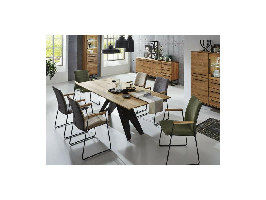 Tisch Eiche massiv mit Eisengestell 02